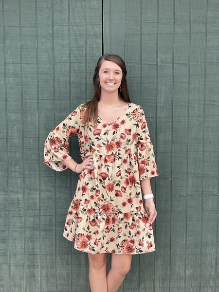 It's Not Over Floral Dress-Taupe
