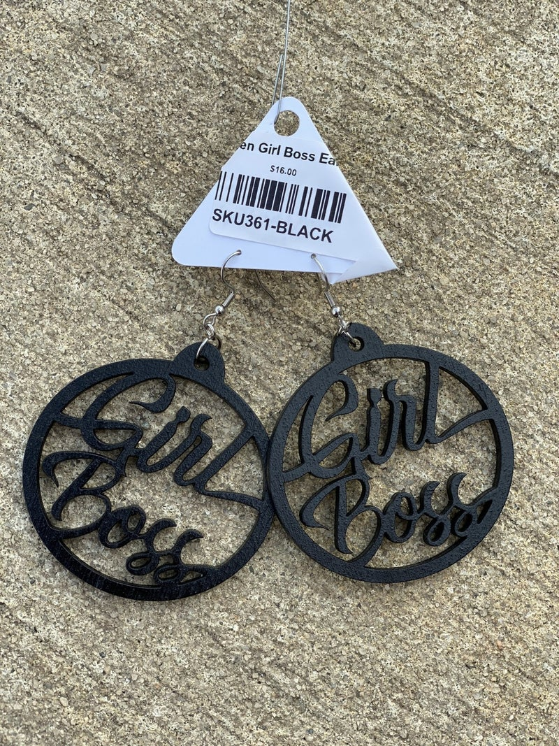 Wooden Girl Boss Earrings