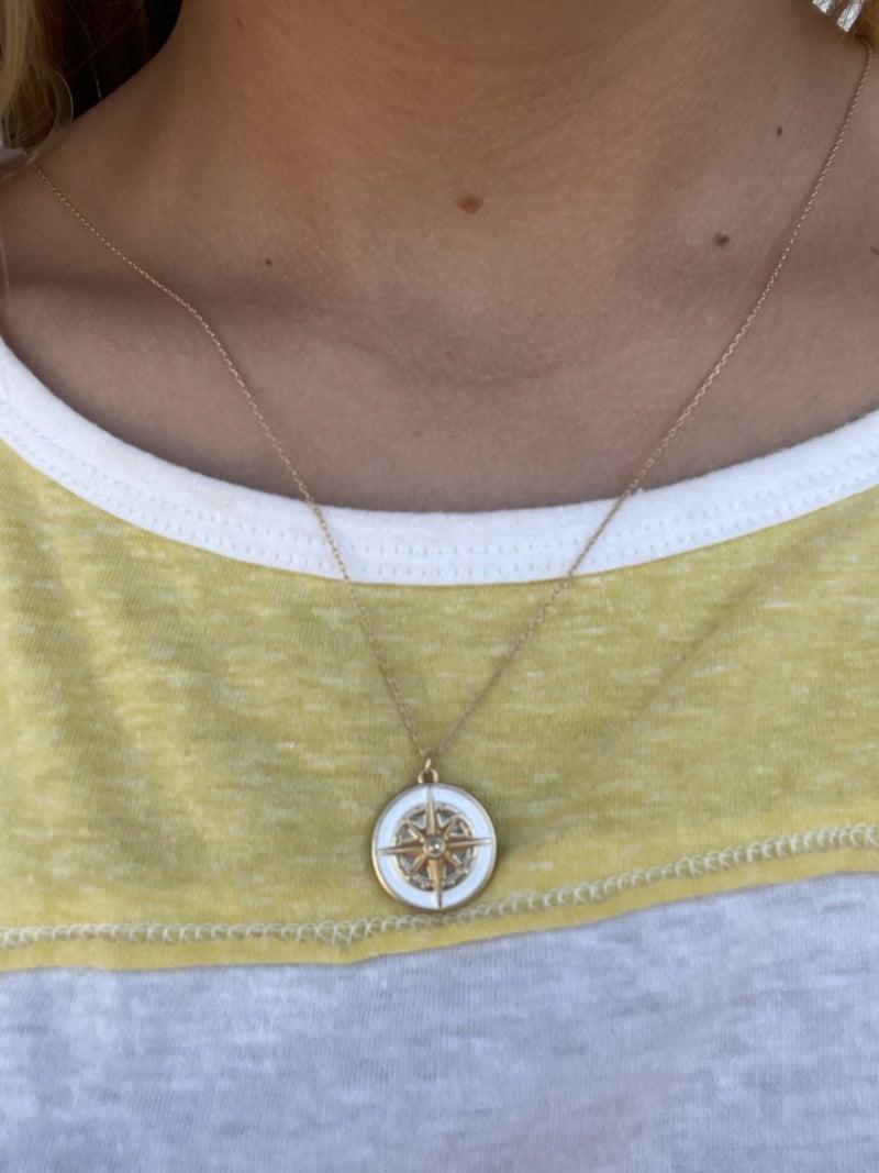 White Epoxy Compass Necklace