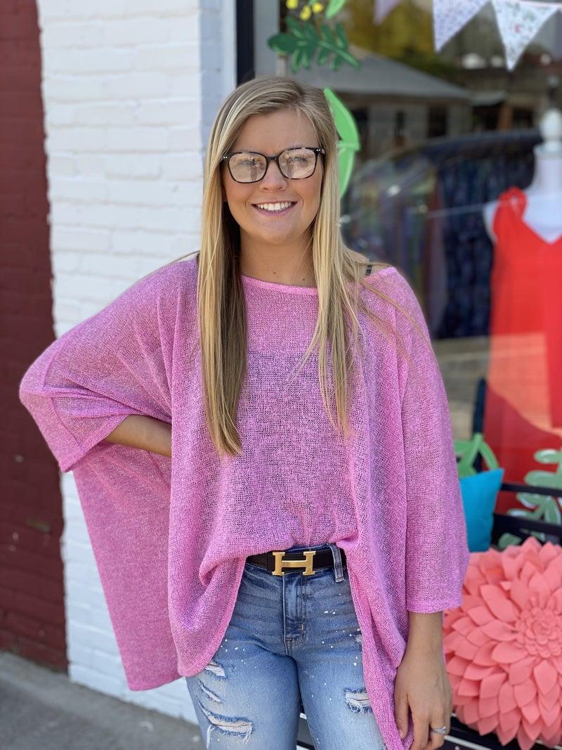 Bubblegum Knit Poncho for Spring!