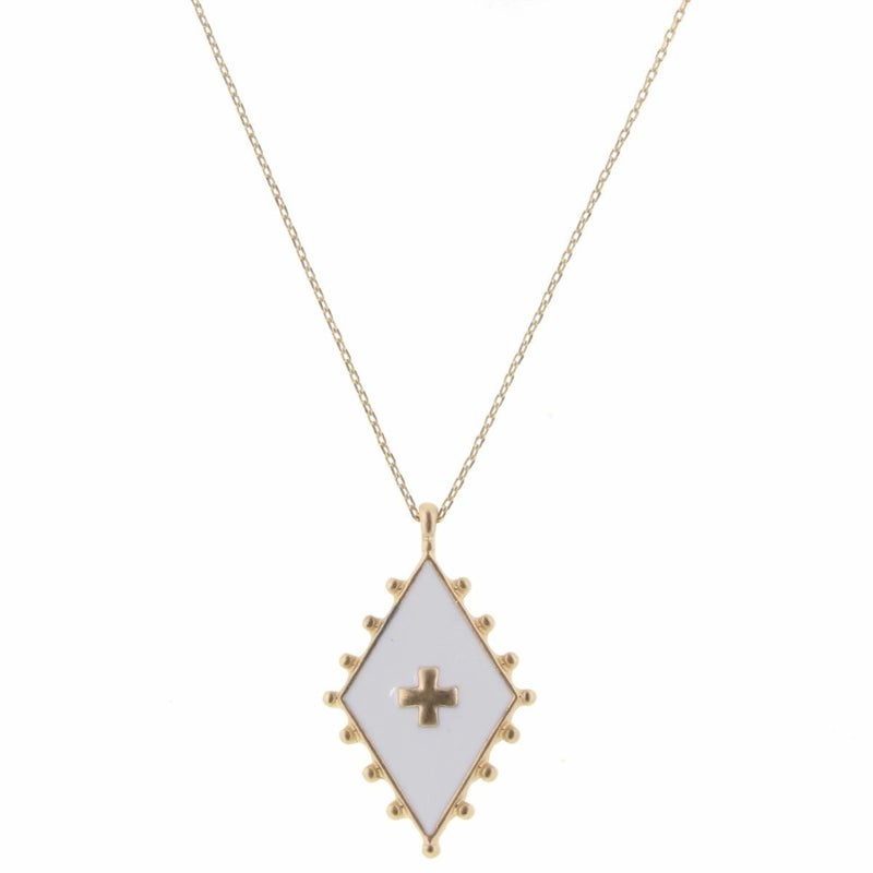 Gold Cross In White Diamond Necklace