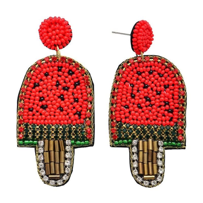 Watermelon Popsicle Drop Earrings