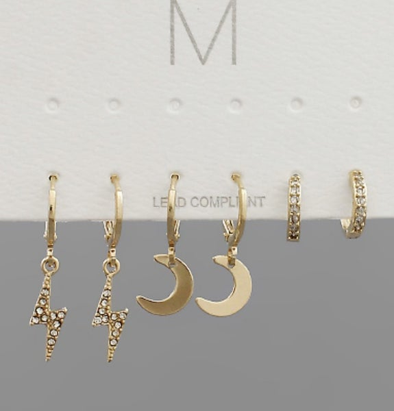 Triple Pair of Mini Earrings
