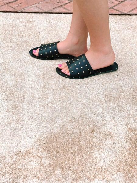 Dressed To Impress Studded Sandals-Black