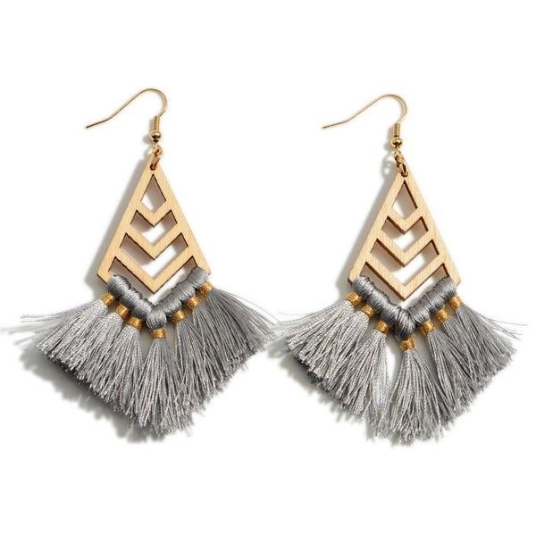 Wooden Tassel Drop Earrings