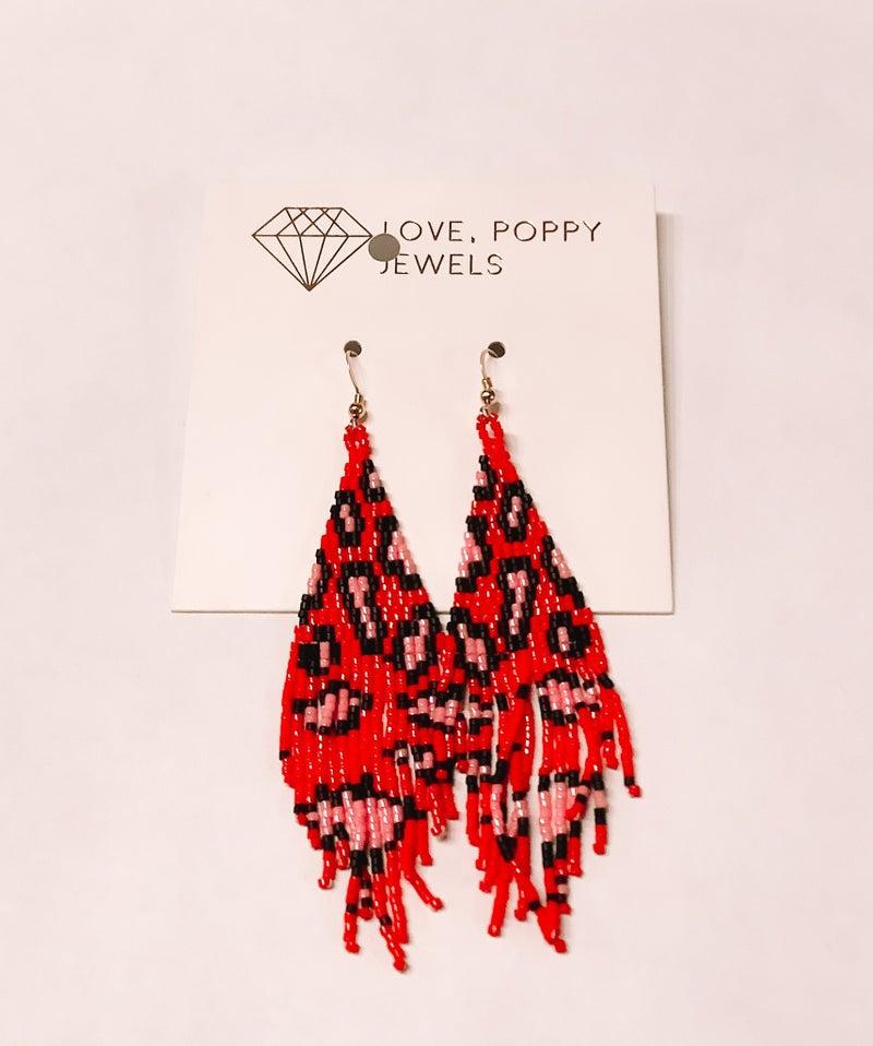 Love, Poppy Pink + Red Leopard Bead Earrings *Final Sale*