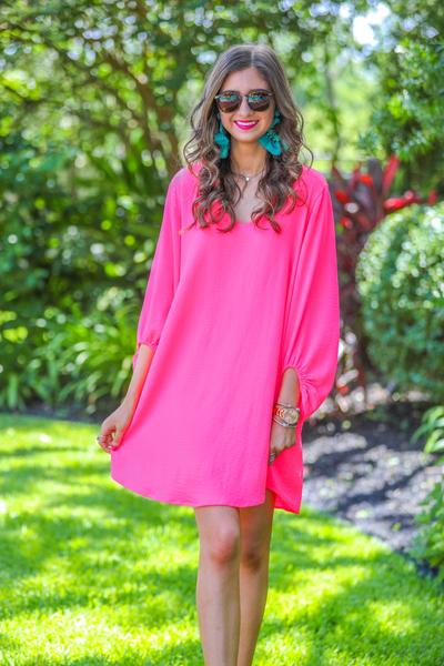 Jessie Balloon Sleeve Dress *Pink*