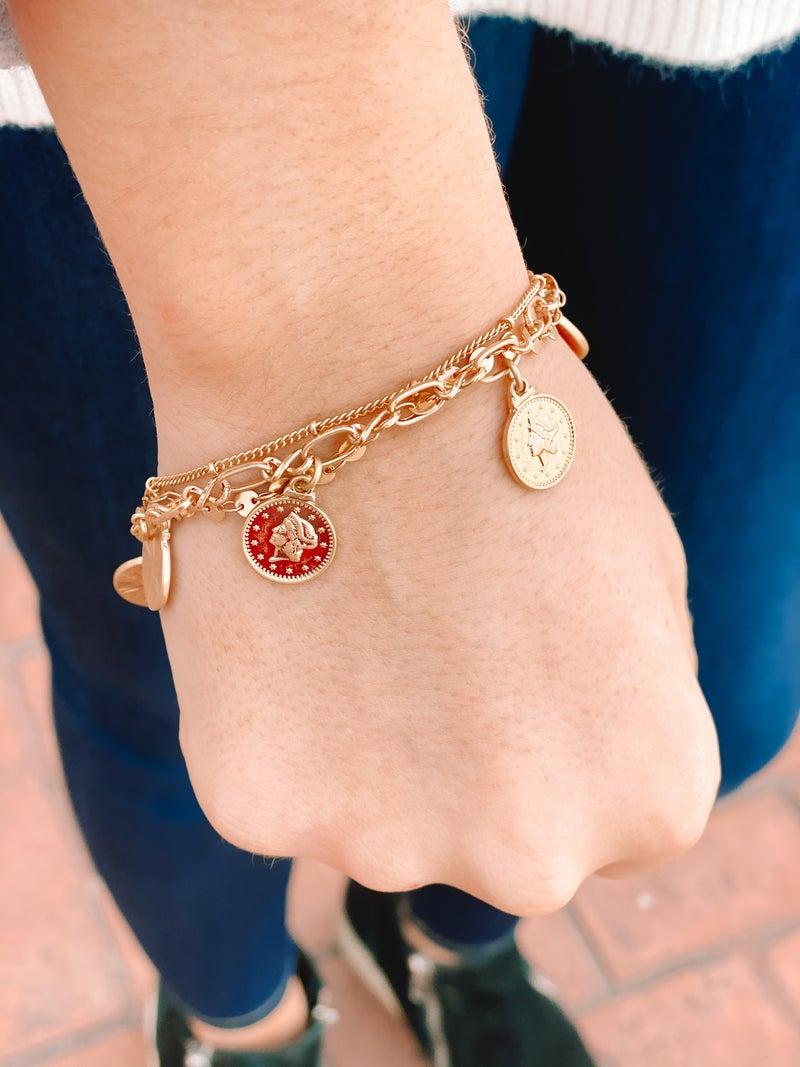 5 Coin Layer Bracelet