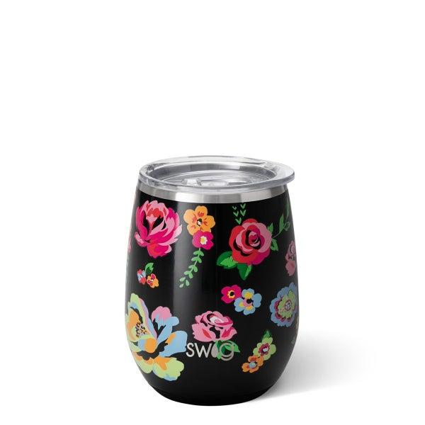Swig-Fleur Noir Stemless Wine Cup (14oz)