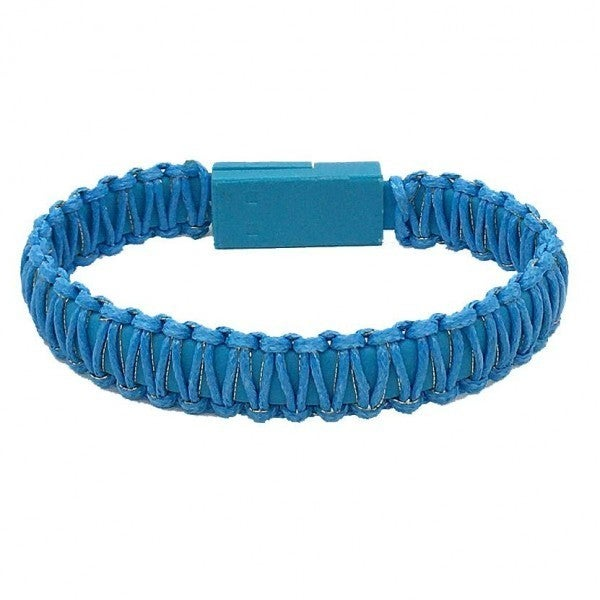 Portable Wax Wrapped USB Charging Cord Bracelet *Blue*
