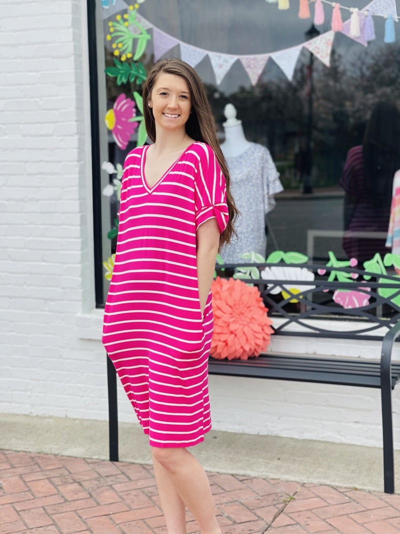 All Lined up Dress *Pink/Ivory*