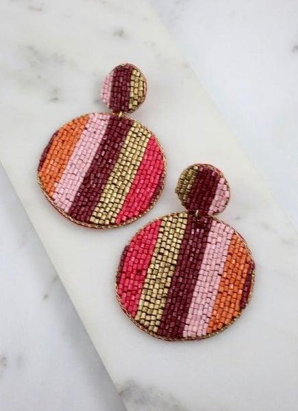 Montana City round Beaded Earrings-Red