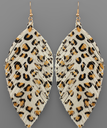 Spotted Leather Feather Earrings - Genuine Leather! *Final Sale*