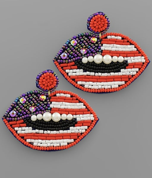 USA Lips Earrings