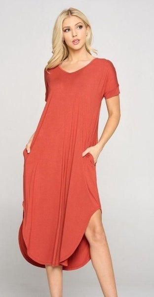 Curvy Only! Let's Go Dress-Rust