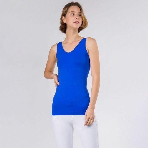 Women's Seamless Reversible V-Neck Tank *Blue* *Final Sale*