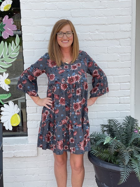 It's Not Over Floral Dress-Grey