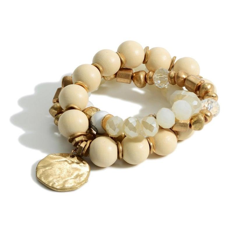 Hammered Pendant and Gold Bracelet-Cream