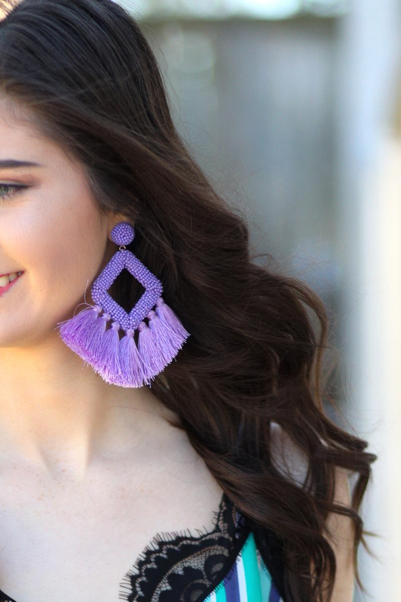 Ellie Fringe Drop Earrings *Lavender*