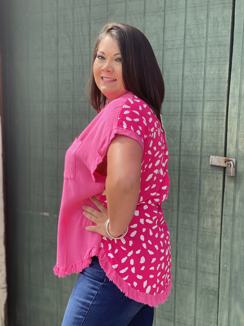 Curvy Only! Pop Of Pink Top