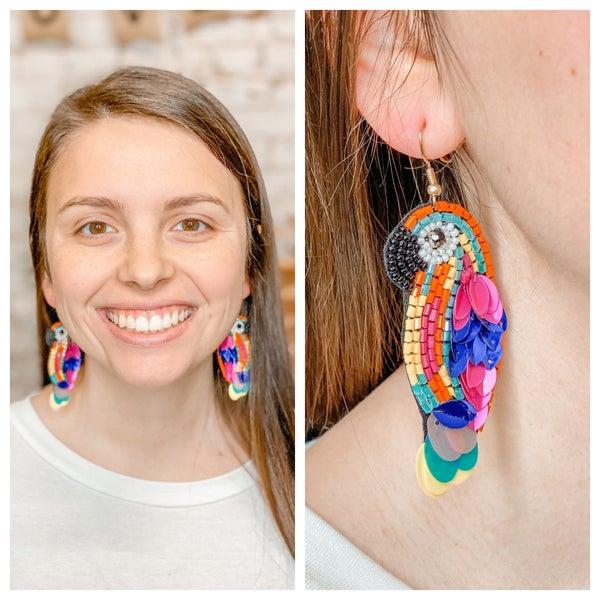 Parrott Beaded Earrings