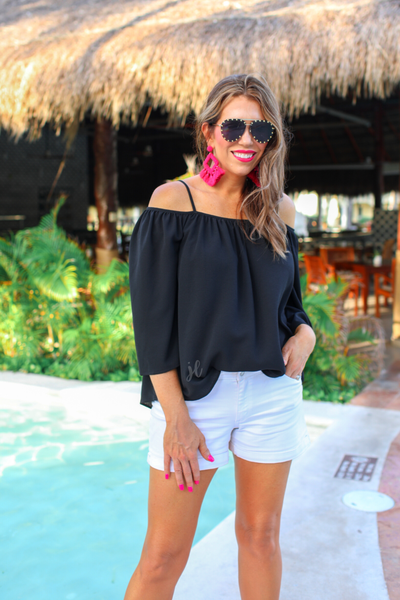 Charlotte Cold Shoulder Top *Black*