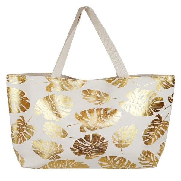 Metallic palm leaf canvas beach bag