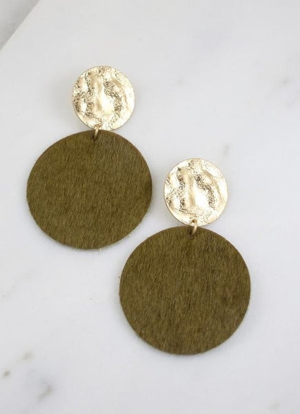 Claremore Faux Fur Earrings-Olive