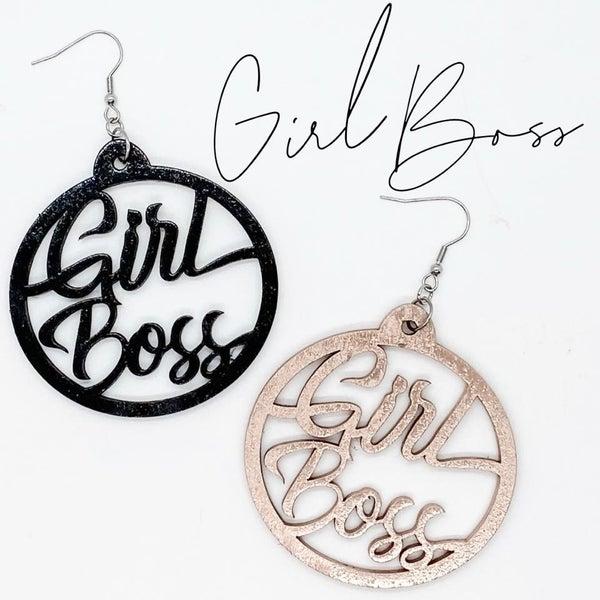 Wooden Girl Boss Earrings