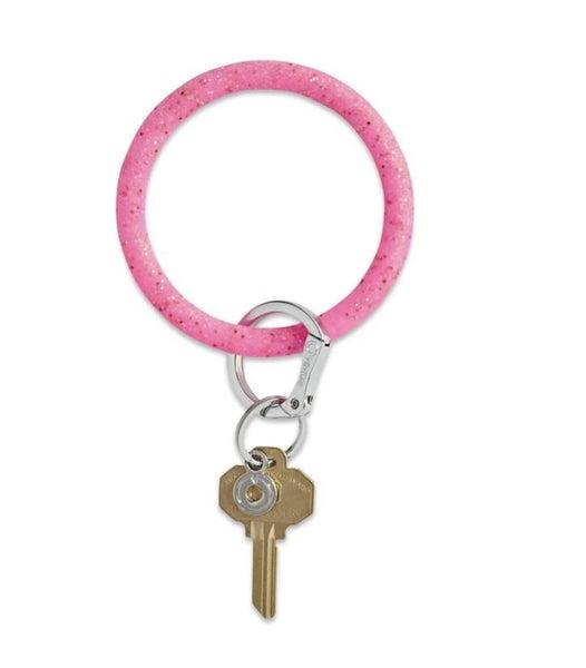 Silicone Big O Key Ring *Tickled Pink Confetti*