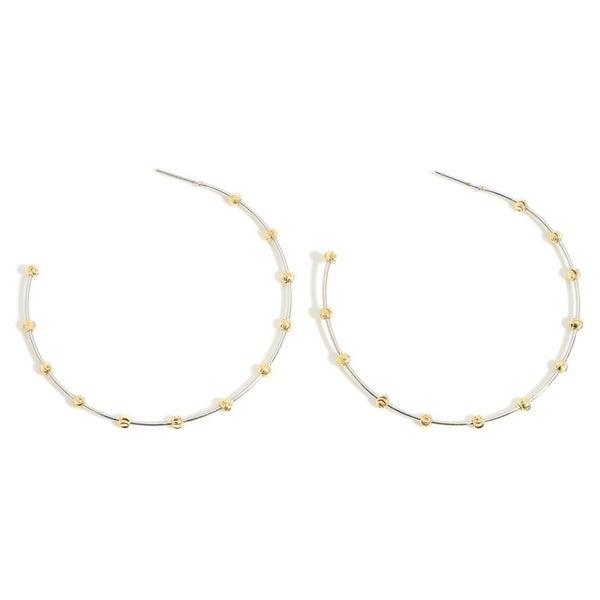 Silver Station Bead Hoop Earrings