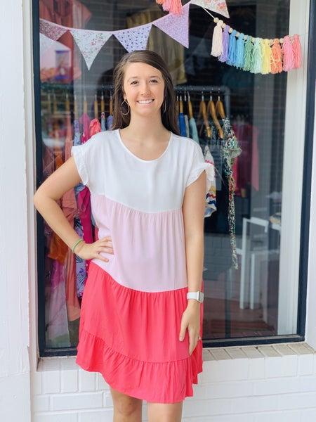 Shades Of Pink  Color Block Dress