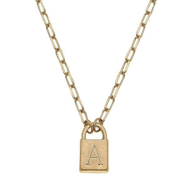 Lock It Initial Necklace *Several Letters*