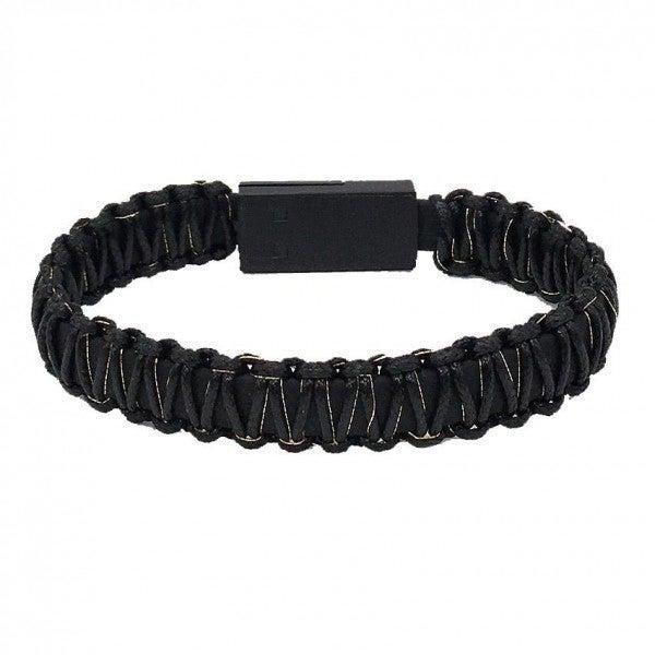 Portable Wax Wrapped USB Charging Cord Bracelet *Black*