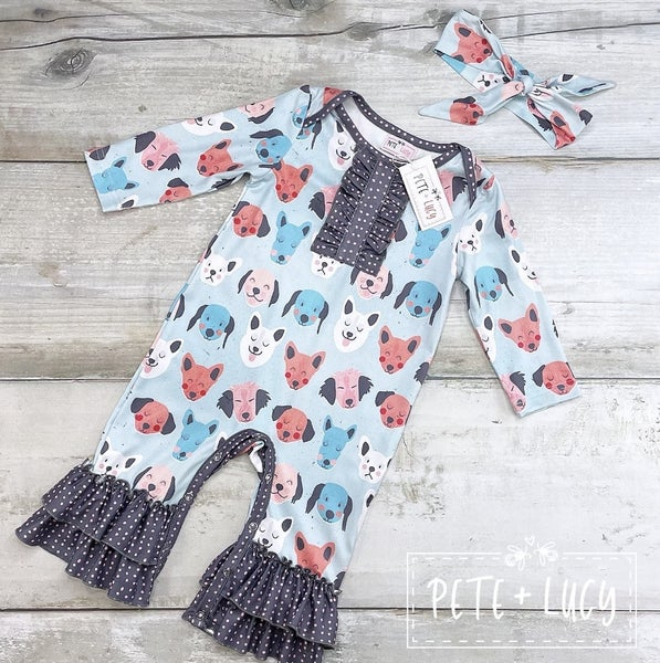 PREORDER: Pete + Lucy Puppy Dog Pals Infant Romper: GIRL