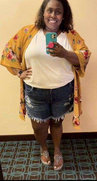 YMI Fav Fringe Shorts! - Curvy Only!