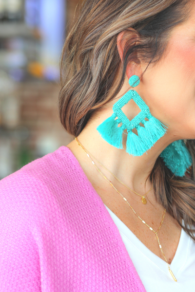 Ellie Fringe Drop Earrings *Turquoise*