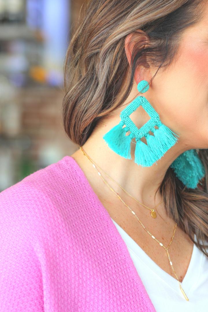 Ellie Fringe Drop Earrings *Turquoise*