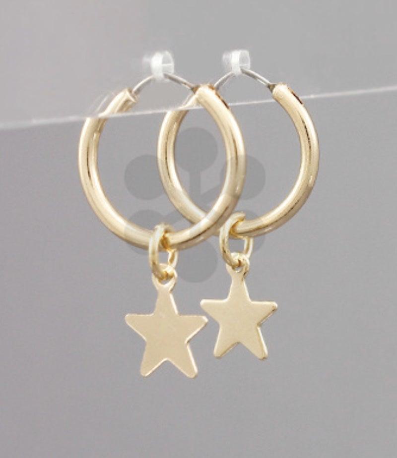 Small Hoop + Star Earrings