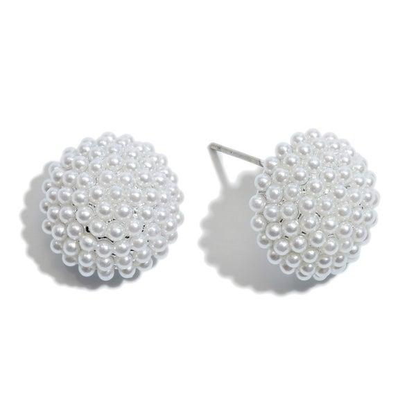 Pearl Button Stud Earrings