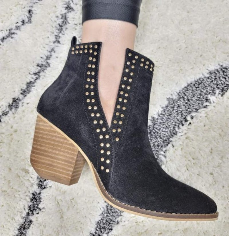 Black Stud Booties
