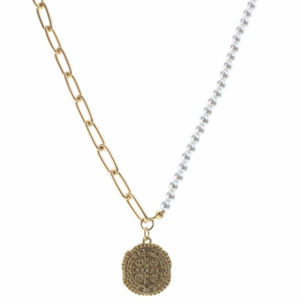 Abby Necklace Half Pearl & Half Gold Chain