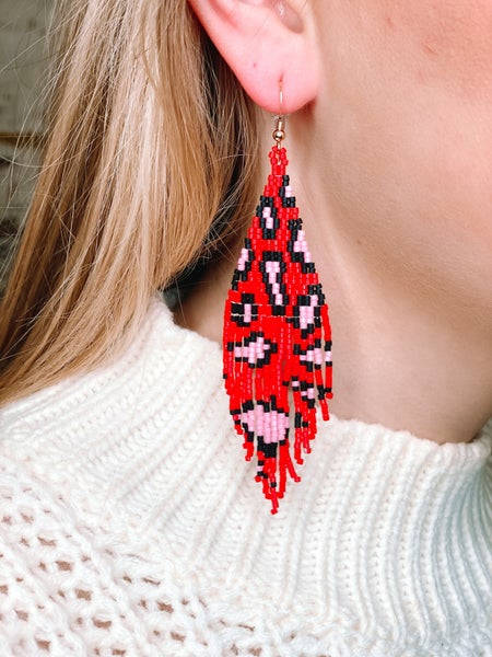 Love, Poppy Pink + Red Leopard Bead Earrings *Final Sale*