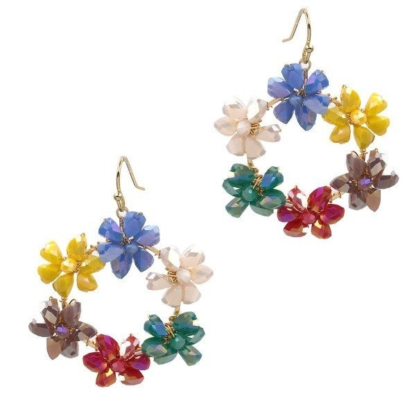Iridescent Floral Drop Earrings