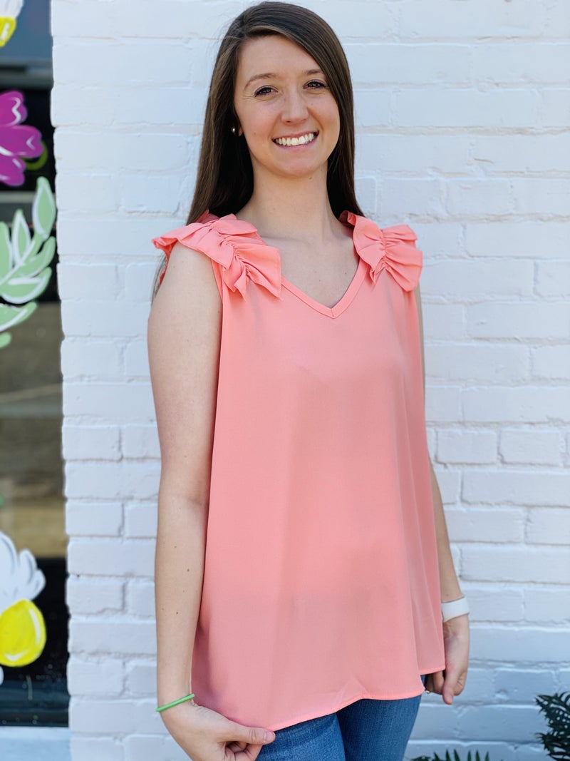 Get Your Ruffle On Top *Coral* *Final Sale*