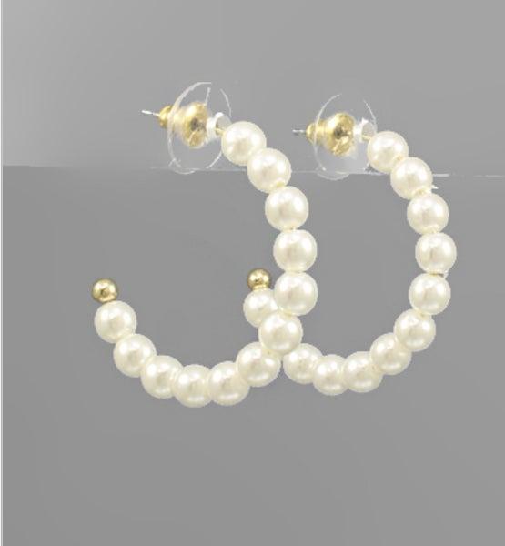 Pearl Hoop Earrings!