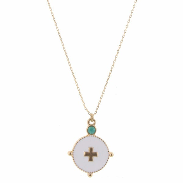 Gold Cross In White Circle With Rhinestone Necklace