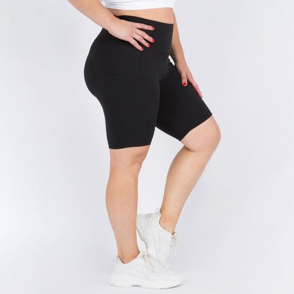 Curvy Only! Biker Shorts w/Pockets