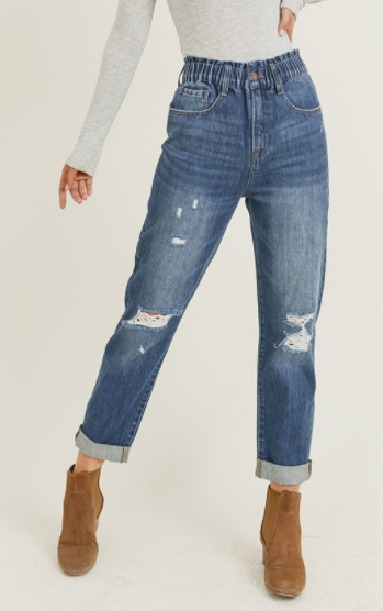 The Cool Mom Jeans with Elastic Waist! *Final Sale*