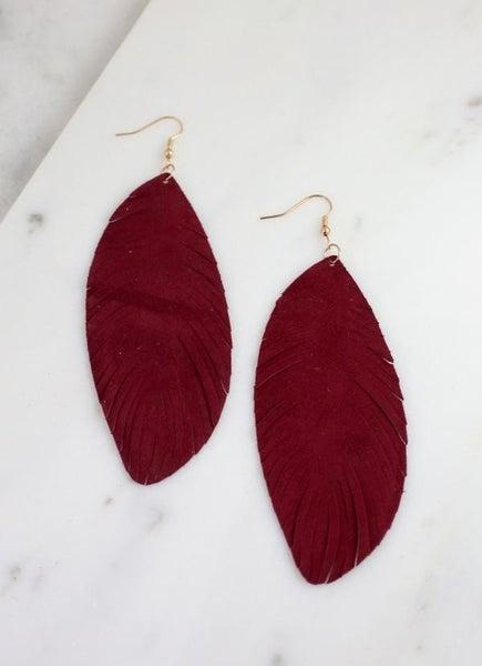 Southern Belle Genuine Suede Earrings-Burgundy